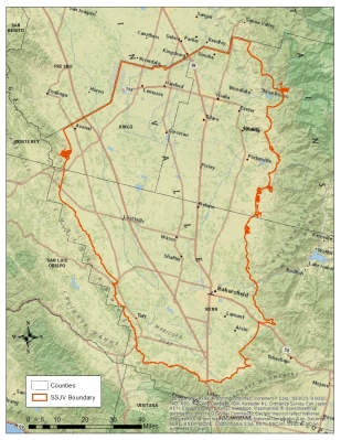 A map of the southern San Joaquin Valley, our pilot area for the Important Plant Area Initiative.